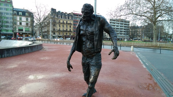 "This is Frankie! He's a new statue of the Creature from Frankenstein placed in the middle of Geneva!<a href=""/reason/images/670218_orig.jpg"" title=""High res"">∝</a>"