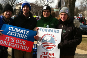 Students participate in a climate rally in Washington D.C.