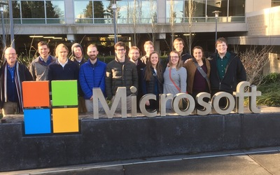 Group photo at the Microsoft campus headquarters in Redmond, Washington!