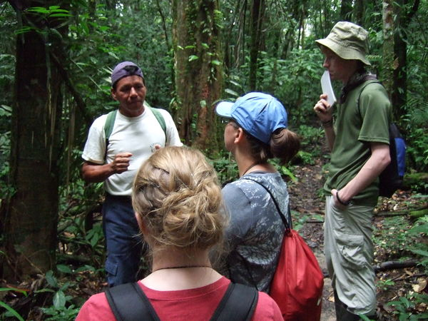 "Students study rainforest ecology in the Amazon rainforest at the Tiputini Biodiversity Station in Ecuador as part of the ""Ecology of Ecuador"" course."
