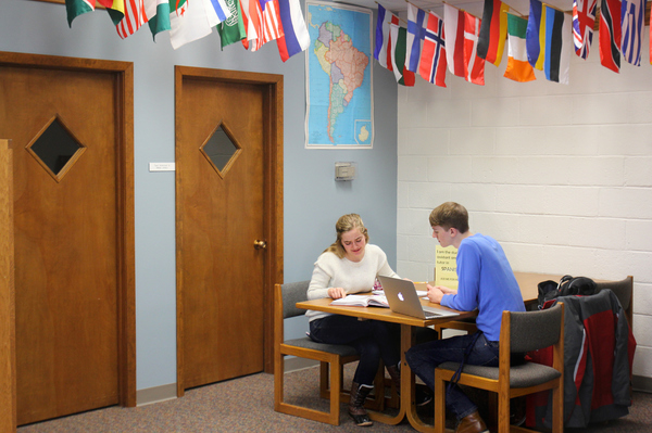 Students studying together in the Language Learning Center