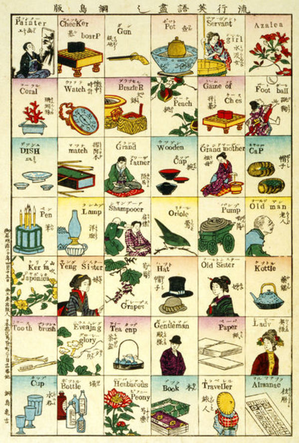 Japanese woodcut showing an illustrated sampler of everyday objects.