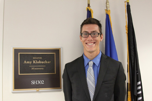 Luther student Ben Nordquist at his summer internship with Minnesota Senator Amy Klobuchar.