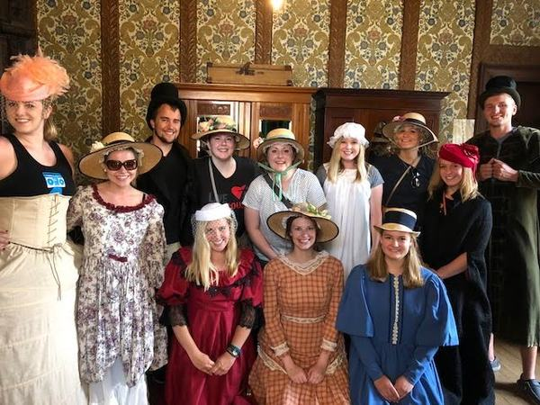 The whole gang decided to travel back in time, by dressing up in the late 19th century attire at Newstead Abbey.
