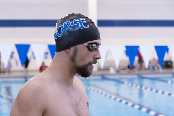 Luther college swimmer mentally preparing for the competition.