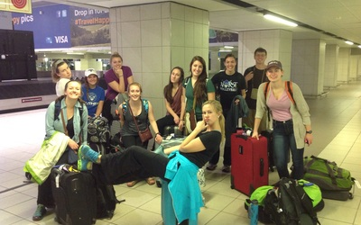 We've arrived and are waiting for luggage!