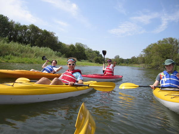 Students canoeing the Upper Iowa River