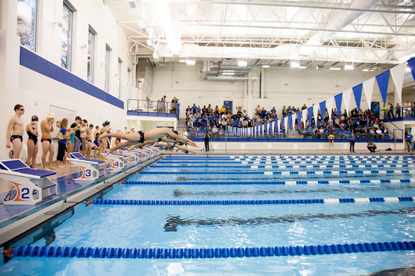 Swimming meet taking place in the Aquatic Center.