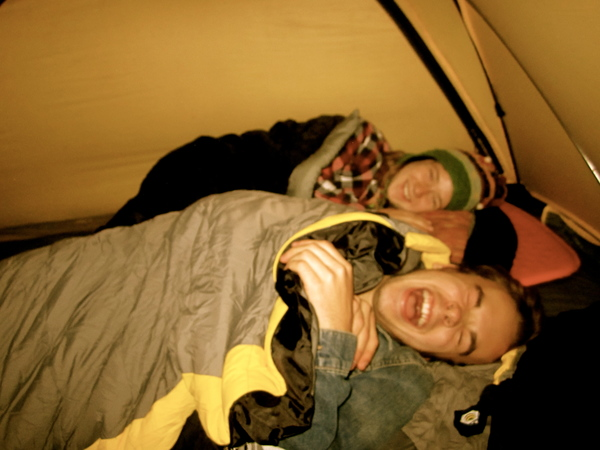 Students camping at twin springs.