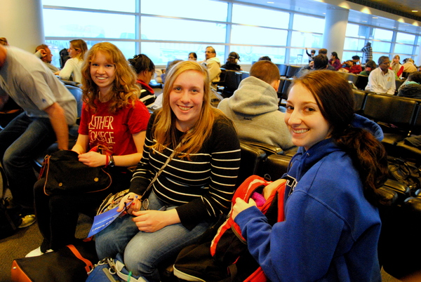 "Katelyn Wagner, Karly Karst, and Shannon Gallagher await their flight in Chicago.<a href=""/reason/images/520356_orig.jpg"" title=""High res"">&prop;</a>"