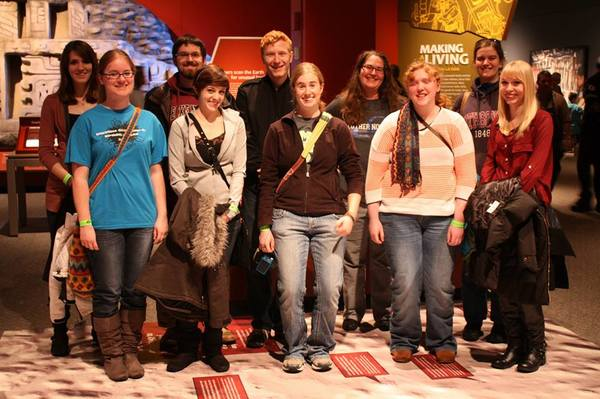 "Dr. Crider with Luther College Anthropology Students at Minnesota Science Center exhibit ""Maya: Hidden Worlds Revealed"" December 2013."