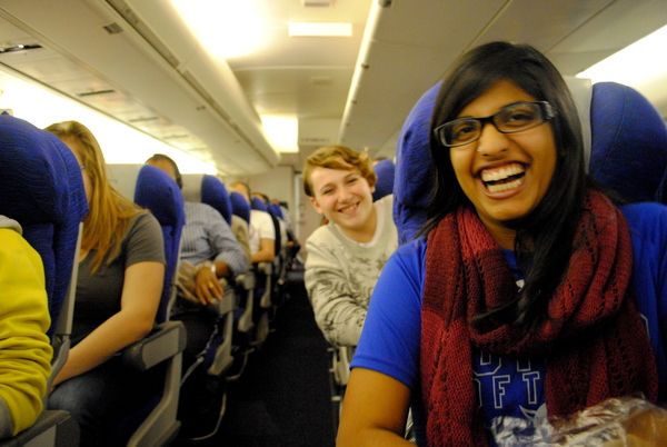 "Ami Gilbert and Sadie Stoiber get settled on the airplane.<a href=""/reason/images/520363_orig.jpg"" title=""High res"">&prop;</a>"