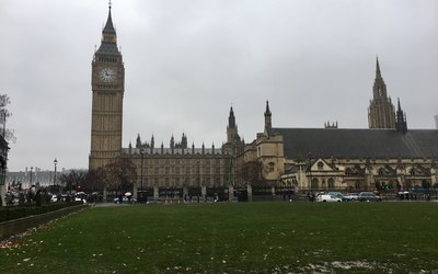 Big Ben and the Palace of Westminster during our morning walk around London.
