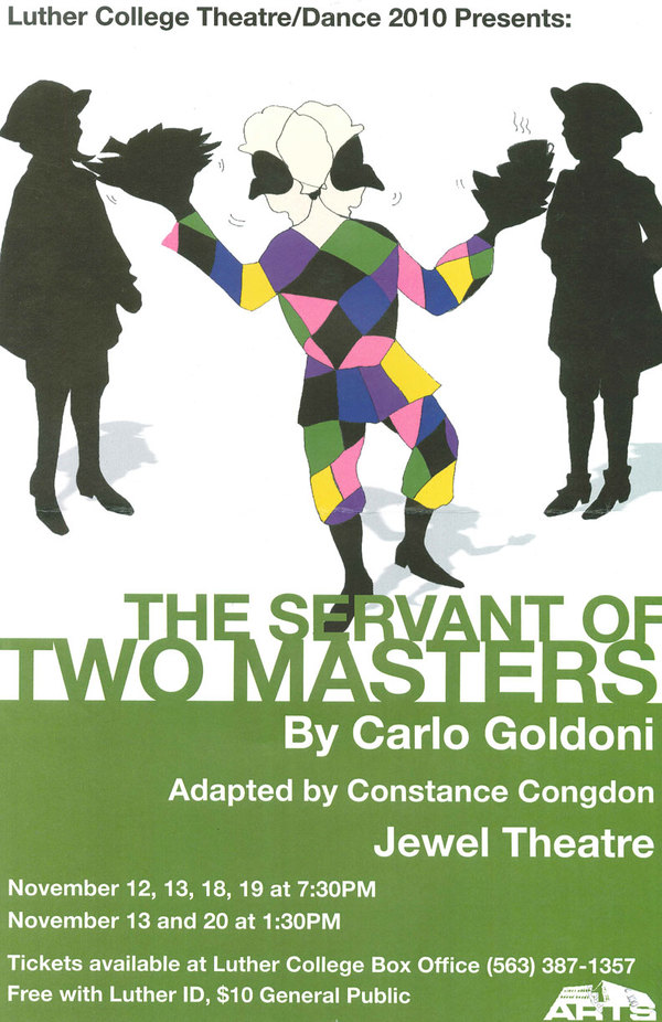 "Poster for the Luther College production of ""The Servant of Two Masters"""
