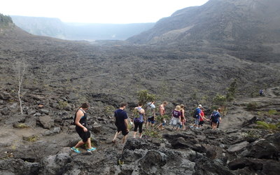 Luther Students hiking the Kilauea Iki trail.