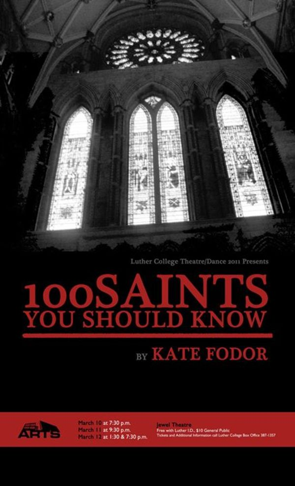 "Poster for the Luther College production of ""100 Saints You Should Know"""