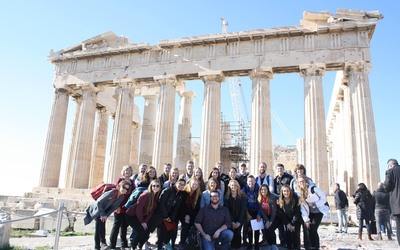 The group in front of the Parthenon.