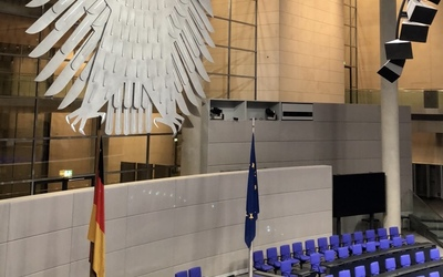 Inside the Reichstag where Germany's parliament holds their sessions.