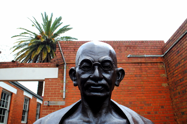 "A bust of Gandhi appears in Constitution Court in an exhibit for Mahatma Gandhi.<a href=""/reason/images/520377_orig.jpg"" title=""High res"">&prop;</a>"