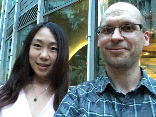 "Professor Hageman discussing science fiction, education, and the future of work with Hao Jingfang on his recent trip to Beijing. Hao's novelette ""Folding Beijing"" is a required reading for the first-year class in Paideia this Fall."