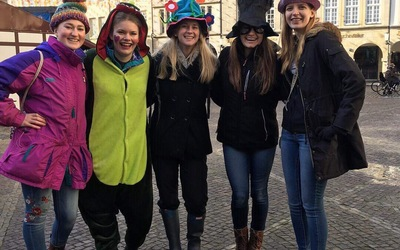 Some of the group dressed up before Karneval!!!