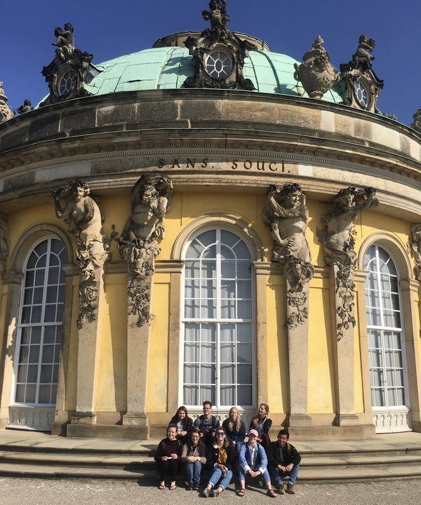 "The group in front of Sans Souci! It was a little bright that day.<a href=""/reason/images/812388_orig.jpg"" title=""High res"">∝</a>"