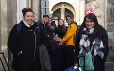 Some of our group members after just getting off the bus in Tours.