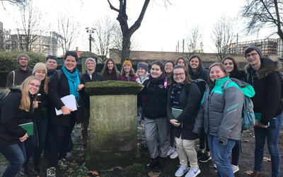 The group in front of Wollstonecraft's grave
