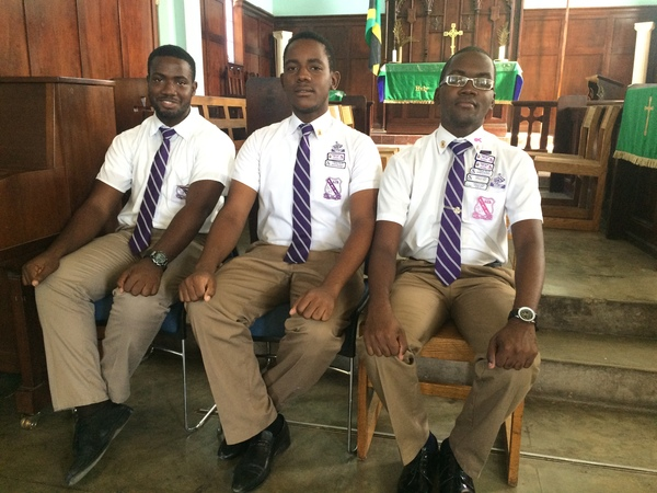 "These are seniors at Kingston College. Seniors are dressed different from the lower grades. Seniors wear neck tie and white shirt while lower grades wear shirts that are the same color of their pants (brown). Names from left to right: Kymani Calder- prefect;cadet leader;rugby captain, Larenzo Henningham- sports analyst; drama club, Thajay Palmer- Drama club president.<a href=""/reason/images/740405_orig.jpg"" title=""High res"">∝</a>"