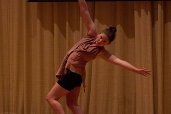 "Still of Taylor Berg '16 performing ""Strange Fruit"", an original dance piece."