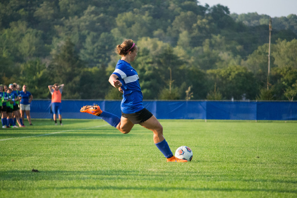 Luther soccer player playing in a match.