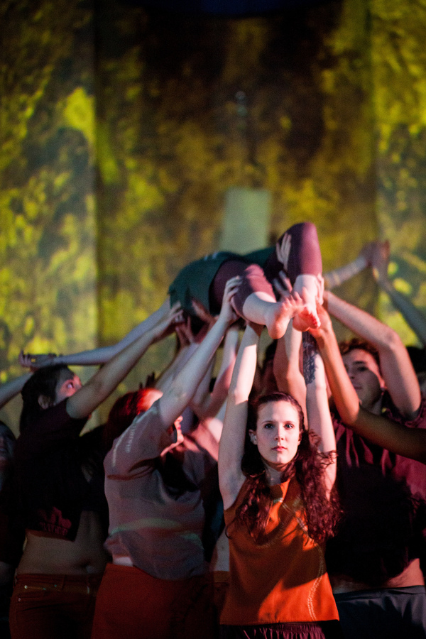 students performing in the dance production Body of Water