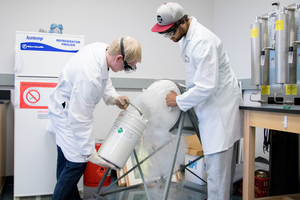 Two Luther students use liquid nitrogen for a student research project.