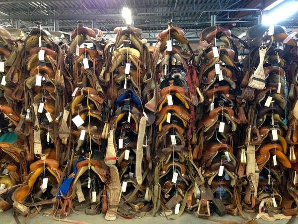 "Just one of the racks in the vault, holding saddles that Navajo peoples have pawned to keep safe from the elements. At first glance, they all seem to be the same. But when you look closer, the variations begin to appear!<a href=""/reason/images/602440_orig.jpg"" title=""High res"">∝</a>"