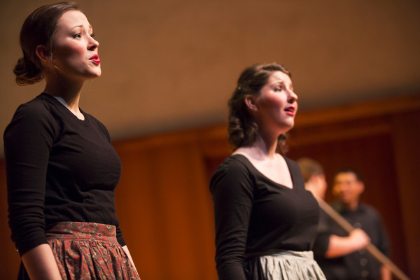 Students participating in the Opera Scenes program perform in Noble Recital Hall during January Term.