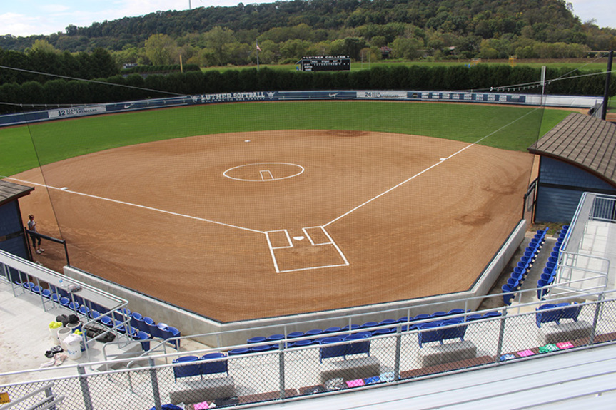View of the softball stadium and seating.