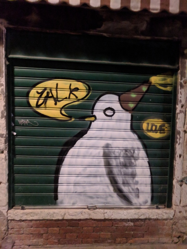 "Venice had a lot of great street art--this pigeon was our favorite.<a href=""/reason/images/799456_orig.jpg"" title=""High res"">∝</a>"