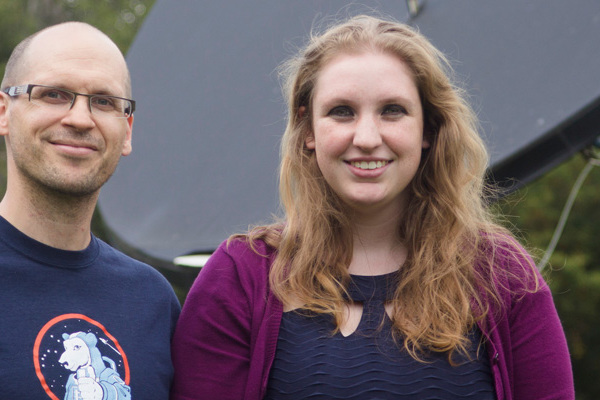 Professor Andy Hageman and Katie Patyk working on undergraduate research together.