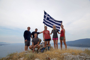 Luther and Vanderbilt students take a breather after climbing a peak near ancient Corinth and Kenchreai on the Aegean Sea.