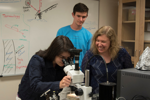 Summer research student, Megan Petzold '18, looks at a small atomic force microscope tip as Professor Flater and Keegan Danielson '19 look on.