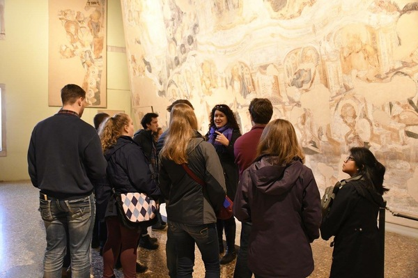 "Dr. Weldon teaching us about how frescoes were made at the Doge's palace (photo by Isaac Heins).<a href=""/reason/images/799458_orig.jpg"" title=""High res"">∝</a>"