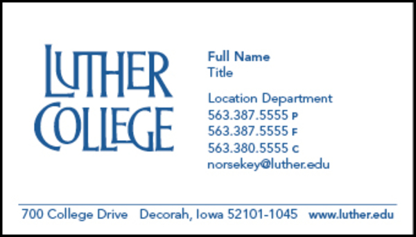 Luther college business cards document center luther college sample business card colourmoves