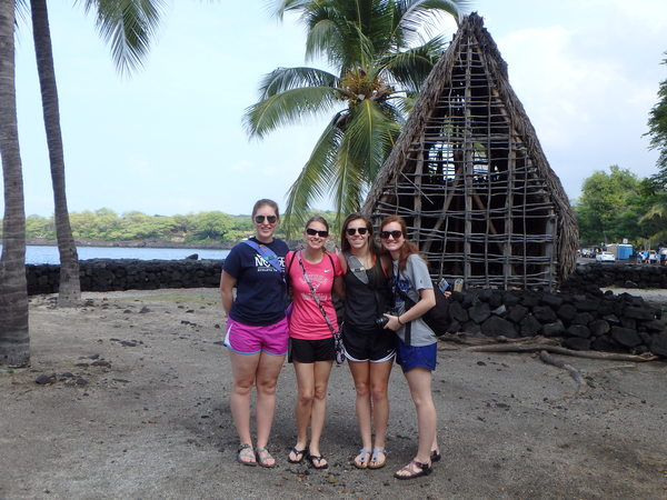 "Linnea Baas, Laura Bosshard, Meredith Arpey, and Kristin Davis pose for a quick picture while exploring Pu'uhonua o Honaunau.<a href=""/reason/images/737460_orig.jpg"" title=""High res"">∝</a>"