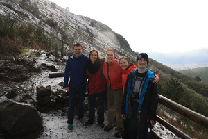 On the slopes of Mt. Vesuvius in southern Italy during a rain/hail storm in January.