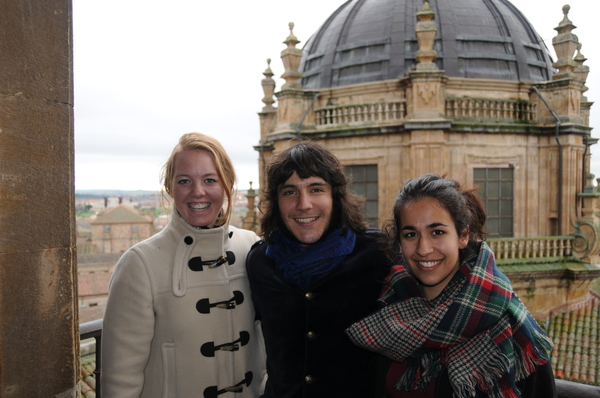 Carlos, Maggie Locke and Mikayla Brockmeyer at the top of the cathedral.
