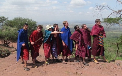 The boys dressed in Maasai shukas ready to take on Maasiland.