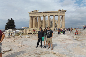 Luther students before the Parthenon on the Acropolis.