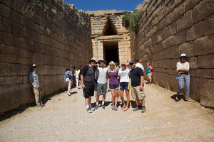 Luther students exploring the ruins of the Treasury of Atreus at Mycenae, Greece (from ca. 1300 B.C.).