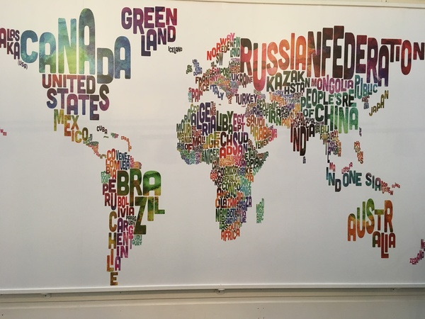 "This mural of the world is found on the wall of the hostel we are staying at in Oslo, Norway.<a href=""/reason/images/741490_orig.jpg"" title=""High res"">∝</a>"