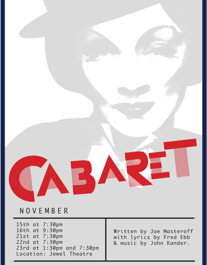 "Poster for the Luther College production of ""Cabaret"""